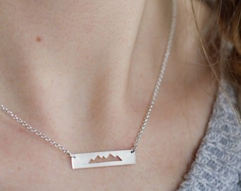 Mountain Necklace, Silver Mountain Bar Necklace, Mountain Range Jewelry, Gift for Her, Nature lover gift, Adventure Jewelry, hiking necklace