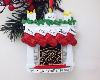 FREE SHIPPING 5 Christmas Stockings by the Fireplace Ornament / Personalized Christmas ornament / 5 Family Christmas Ornament