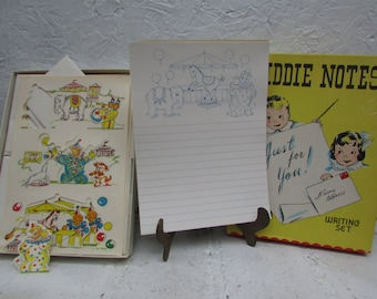 VINTAGE Kiddie Notes Writing Set with Stickers and Writing Paper and Envelopes.  Circus Theme.