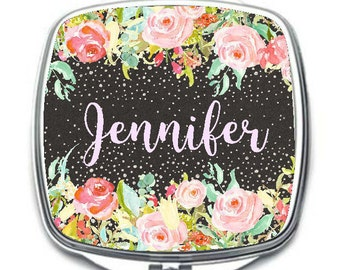 Personalized Cosmetic Mirror, Personalized Compact Mirror,  Wedding Gift, Bridemaids Gift, Flower Girl Gift, Birthday Gift Mirror
