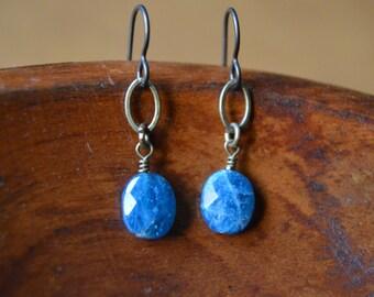 Teal Blue Apatite Brass Dangle Earrings - Niobium Ear Hooks
