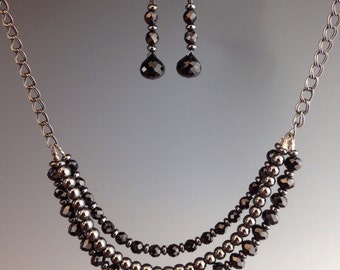 Black Spinel necklace, Hematite necklace, Spinel gemstone ~ Oxidized sterling necklace, bib necklace ~ 3 strand necklace, Spectacular Spinel