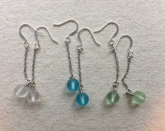 Frosted Glass Bead Earrings