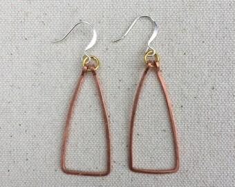 Copper Triangle Drop Earring