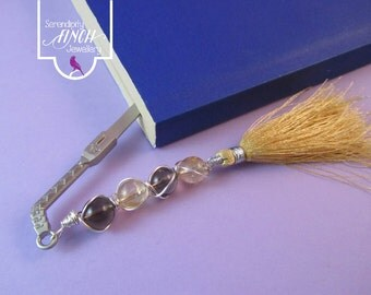 Sword Bookmark, Smokey Quartz Wire Wrapped Bookmark, Yellow Bookmark, UK