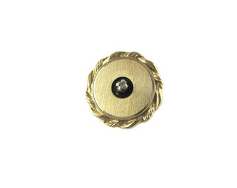Diamond Chip Tie Tack/ Gold Tone Diamond Chip Tie Tac/Round Black Enamel Rope Motif Tie Pin