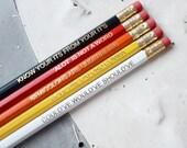 RED GRAMMAR PENCILS Set Ombre Coloured Pencil Gift School English Rules Teacher Graduation Present Colourful Retro Hex Gold Handmade Police