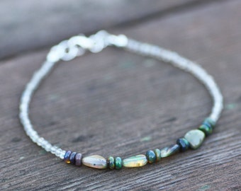 Natural Labradorite and Black Opal Bracelet in Sterling Silver , 14th Anniversary , October Birthstones , Wedding , Bridal , Stacking  OOAK