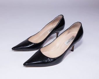 90's Jimmy Choo Black Patent Leather Heels Size 40