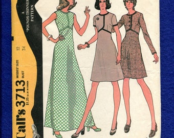 1970's McCall's 3713 Retro A-Line Dress with Seaming Details Size 12