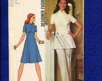 1970's Simplicity 5292 Star Trek Stewardess Chic Princess Seam Dress & Tunic Size 12