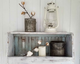 Handmade Farmhouse Wood Wall Bin ~ Counter Storage ~ Rustic Primitive Cottage Chic Style