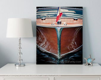 Nautical art, Boat wall art, Wooden boat photography, Beach decor, Chris Craft, Coastal decor, Lake house decor // Wood & Chrome boat bow