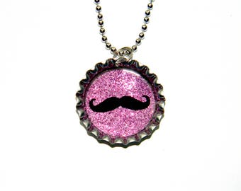 NEW Mustache - Bottle Cap Necklace