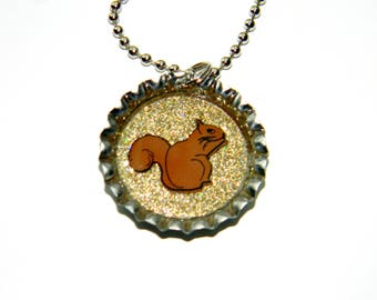 NEW Squirrel - Bottle Cap Necklace