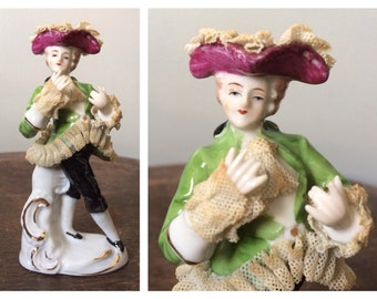 Vintage Antique Dresden Lace Ceramic Figurine Sculpture Rococo Baroque French Revolution Parisian Man Porcelain Home Decor Tricorn Hat Fancy
