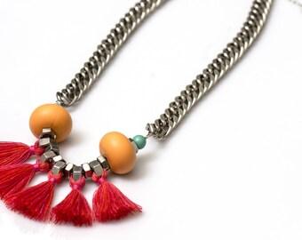 Dark peach orange fringe necklace, multi color fan necklace, indian red tassels necklace, modern tribal fringe, nulika