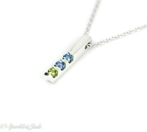 Vertical Channel Set Birthstone Bar Pendant Necklace with 1, 2, 3, 4 or 5 Stones in Sterling Silver or 10k 14k White Gold