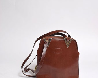 Vintage 90's Brown Leather Small Shoulder Bag