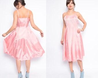 Vintage 80's Pink Full Circle Dress / Sleeveless Strappy Midi Dress / Pink Silk Like Dress - Size Medium