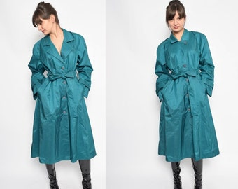 Vintage 80's Green Button Coat / Green Belted Raincoat - Size Medium