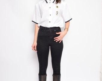 Vintage 80's Ruffled White Blouse / White Button  Shirt / Sailor White Blouse