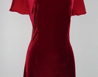 Laura Ashley vintage, cherry-red stretch-velvet, georgette sleeves, slip-on style occasion dress, size Medium
