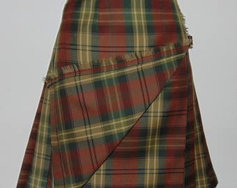 Laura Ashley vintage check plaid 100% wool pleated wrapped kilt/ skirt, size 10 UK