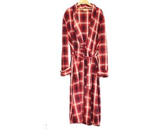 Vintage Housecoat - 60s Plaid Wool Dressing Gown - Men's Vintage 60s Wool Housecoat - Retro Men's Robe - Red And White Plaid Robe