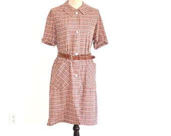 40s Cotton House Dress - VIntage 40s Day Dress - Plaid Cotton Shirt Dress - 1940s Campus Casuals Dress - Vintage 40s Dress