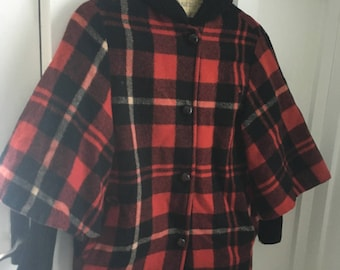 Vintage red tartan plaid and sweater wool coat size L 3/4 sleeve