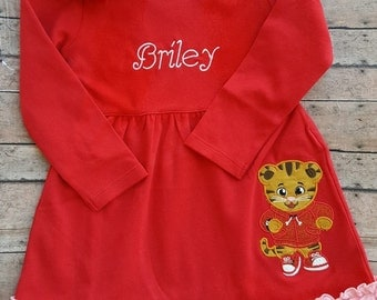 Girl's ruffled Daniel Tiger dress with name or monogram