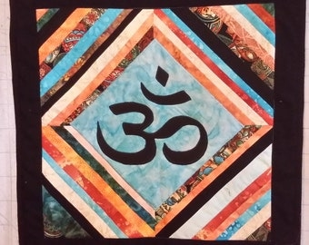 om, wall hanging, quilted, spiritual, applique