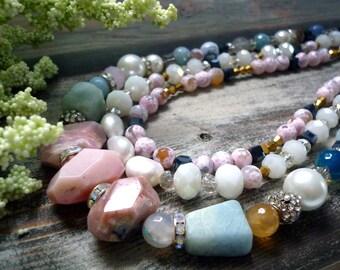opal necklace,pink opal  necklace, agates necklace,aquamarine necklace,crystal  necklace, colorfull necklace, aqua necklace, genuine stone