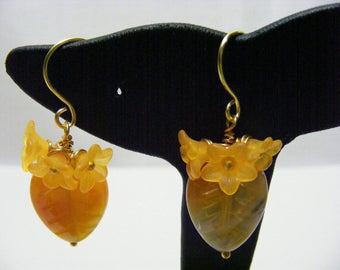 Yellow Gemstone Leaves and Orange Lucite Flower Earrings