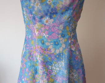 Floral 60s sleeveless mini dress M