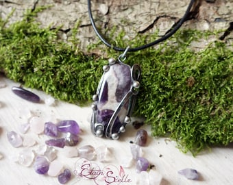 Pendant Amethyst gem Tin elven fairy pewter color old money new art