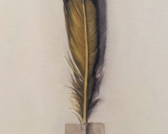 """Original oil painting: Woodpecker feather 4x6"""""""