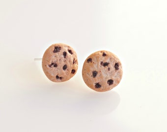 Chocolate Chip Cookie Earrings, Miniature Food Earrings, Cookie Jewelry, Chocolate Cookie Studs, Biscuit Earrings, Kawaii Jewelry