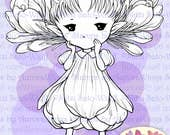 PNG Digital Stamp - Crocus Sprite - digistamp - Whimsical Flower Fairy - Fantasy Line Art for Cards & Crafts by Mitzi Sato-Wiuff