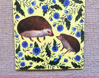 Mother & Baby Hedgehogs Greetings Card