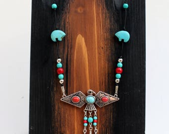 Thunderbird Leather Necklace, Western Jewelry, Southwestern Jewelry, Leather Jewelry, Native American Jewelry