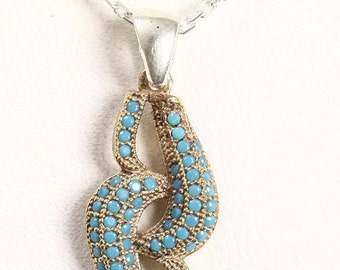 Handmade Modernist Turquoise And Sterling Silver Drop Pendant With A Chain