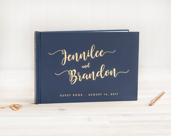 Wedding Guest Book landscape guestbook horizontal wedding album Personalized Navy Gold Foil hardcover wedding guest book wedding journal