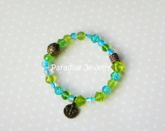 Catholic Jewelry, Holy Spirit Medal, Blue and Green, Catholic Bracelet, Crystal Bead, Gift For Goddaughter, Confirmation, Sacrament Gift