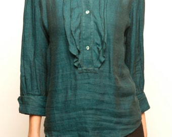 1980's KENZO green linen three quarter sleeves frill blouse