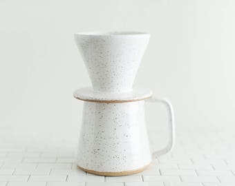 Wake Pour Over Set - Ships in 2-4 Weeks - Handmade pottery mug for brewing coffee