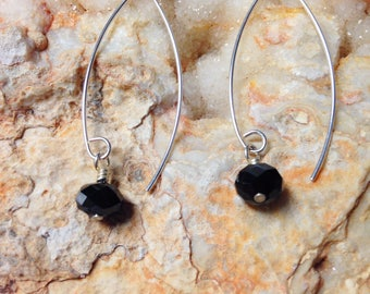 Sterling Silver and Jet Earrings