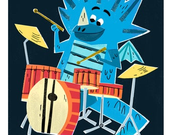 Drummer Dragon Print / The Fire Starters/ Musical Dragons/ Drums