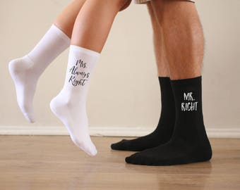 Mr. Right Mrs. Always Right Socks, Mr. Right Mr.Always Right, Mrs. Right Mrs. Always Right, Couple's Wedding Gift, Sold as a two pair set